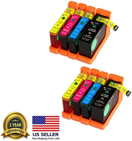 8PK 100XL//105XL//108XL Ink Cartridge for Lexmark Interact S301 S408 S605 Pro708 Pro901