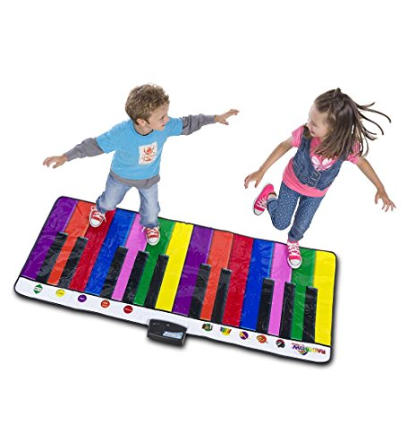 Giant Play Piano for Kids Musical Dance Keyboard Floor Mat 5 Instrumental Sounds 6 Songs Color Coordinated Keys Record and Play Back 6' L x 2 1/2' W by HearthSong