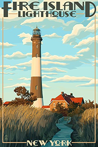 Captree Island, New York - Fire Island Lighthouses (12x18 SIGNED Print Master Art Print w/ Certificate of Authenticity - Wall Decor Travel Poster) - Island Signed