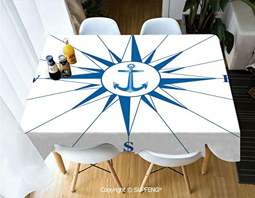 (Vinyl tablecloth Royal Blue Windrose with an Anchor in the Middle Discovery on the Sea Sailing on Decorative (60 X 84 inch) Great for Buffet Table, Parties, Holiday Dinner, Wedding & More.Desktop dec)