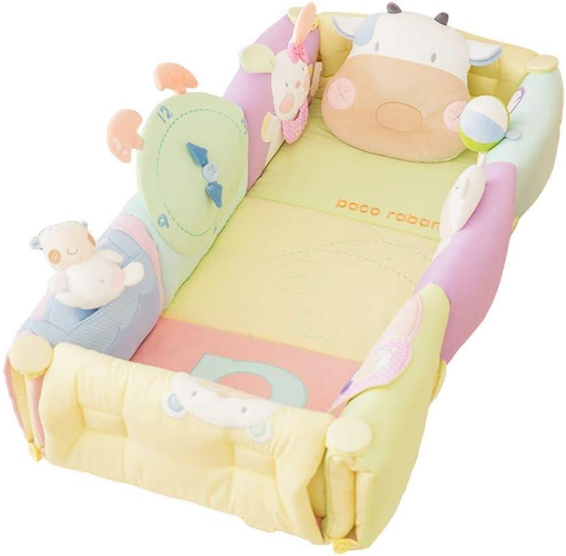 TONGSH ベッド用ベビーラウンジャー、新生児用ポータブルベビー巣、綿100%新生児用ポータブルベビーベッド、通気性と低刺激性の睡眠巣寝室/旅行キャンプ用新生児ラウンジャー枕