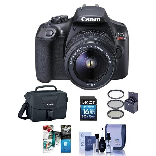 Canon EOS Rebel T6 Digital SLR Camera Kit with EF-S 18-55mm f/3.5-5.6 IS II Lens - Bundle With Camera Case, 16GB SDHC Card, Cleaning Kit, 58mm UV Filter, Software Package by CANON
