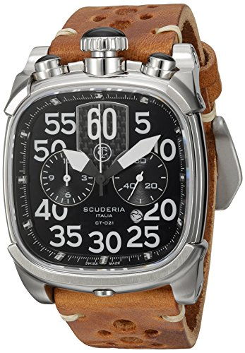 CT-Scuderia-Mens-Scrambler-Swiss-Quartz-Stainless-Steel-and-Leather-Casual-Watch-ColorBrown-Model-CS70119