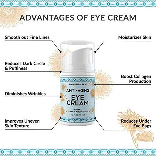 51 7XgoP41L - Eye Cream for Dark Circles, Wrinkles, Bags & Puffiness. Best Under & Around Eyes Anti-Aging Treatment with Vitamin C, Hyaluronic Acid, Green Tea & Organic Rosehip oil by Simplified Skin 1.7 oz