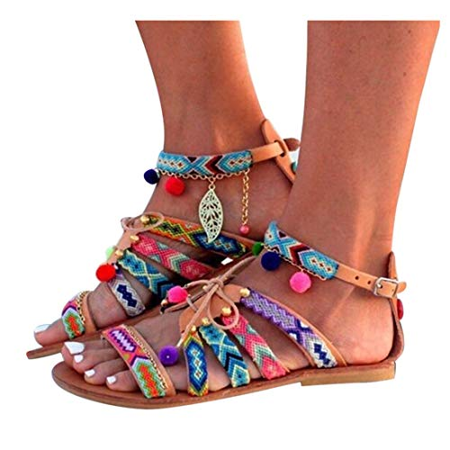 Inverlee Women Bohemia Sandals Gladiator Leather Sandals Flats Shoes Pom-Pom Sandals (7.5, Multicolor)