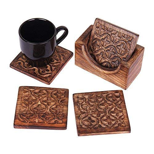 - storeindya set of 4 Handmade Wooden Coasters Absorbent Cool Drink Coasters with Holder Unique Bar Decor Accessories best Christmas/Housewarming Gift (Design 13)