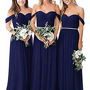 830b53aaced EEFZL Women s Off The Shoulder Chiffon Bridesmaid Dress Beaded Waist Maid  of Honor Wedding Guest Gown Royal Blue US12