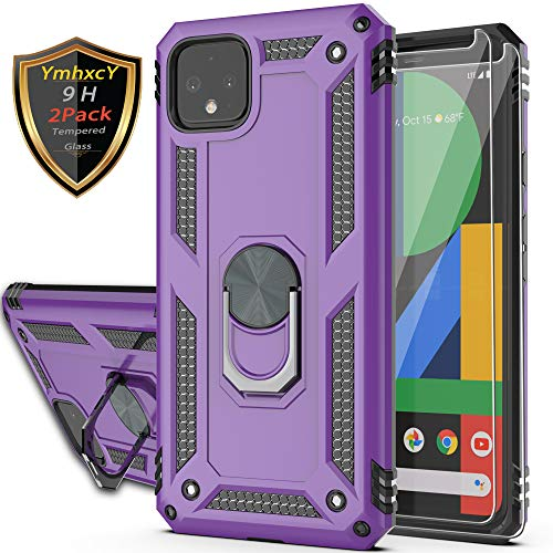 Google Pixel 4 XL Case with Tempered Glass Screen Protector [2 Pack],YmhxcY 360 Degree Rotating Ring Double Layer…