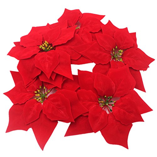 M2cbridge 50pcs Artificial Christmas Flowers Red Poinsettia Christmas Tree Ornaments Dia 8 Inches Flowers Christmas Ornament