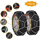 Car Snow Tire Chains, 16mm Emergency Mud Snow Tire Anti-Skid Security Chains for Car/SUV/Truck/Pickup, Set of 2