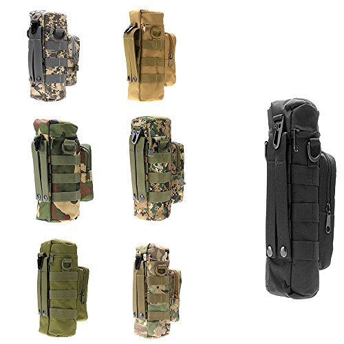 Glumes Sports Water Bottles Pouch Bag Tactical Molle Water Bottle Pouch Military Drawstring Water Bottle Pouch Holder Mesh Water Bottle Carrier Attachment Bottle Sling Bag with Pouch Camouflage