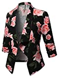 Awesome21 Stretch 3/4 Gathered Sleeve Open Blazer Jacket Black Peach Size S