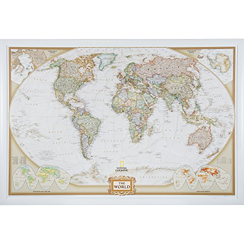 Craig Frames Wayfarer, Executive World Push Pin Travel Map, Satin White frame and Pins, 24 by 36-Inch