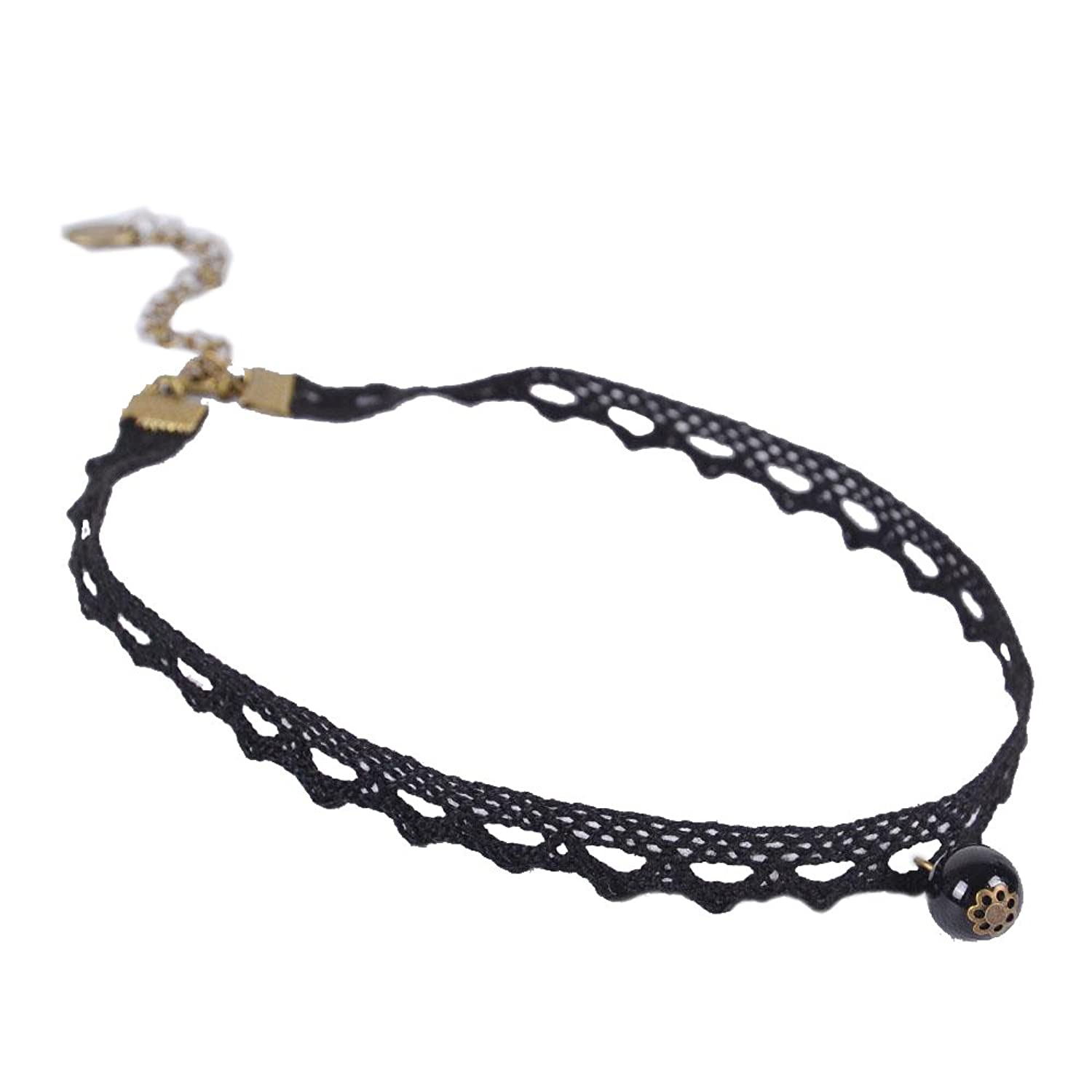 Buy Imported Vintage Retro Black Lace Beads Charm Tattoo choker ...