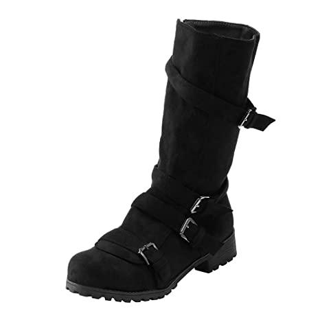 c0abdc5f15fb8 Amazon.com : Women Vintage Fashion Flat Martin Boots Casual Buckle ...