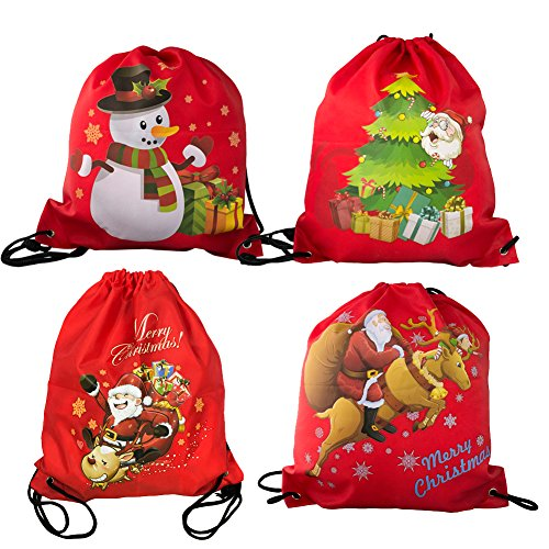 BINGONE 4 PCS Christmas Drawstring Backpack