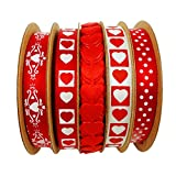 """3/8"""" 5-Pack Valentine's Day Satin Red White Ribbon Hairbow Craft Supplies"""