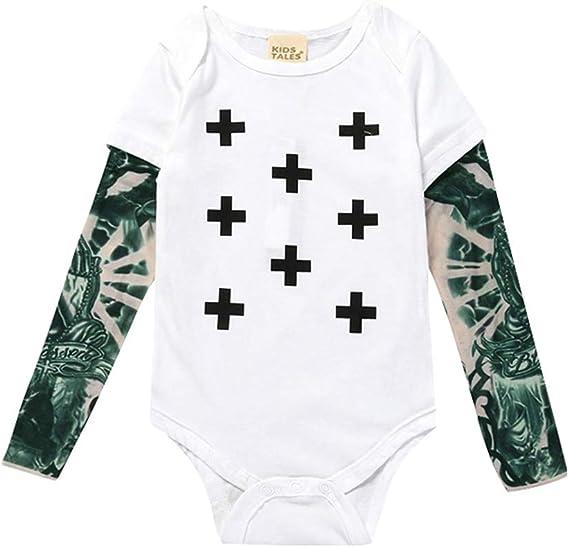 Mxssi Neonato Pagliaccetti Tatuaggio Manicotto Tattoo Letter Stampato Modello Boy Girl Baby Costume Tuta