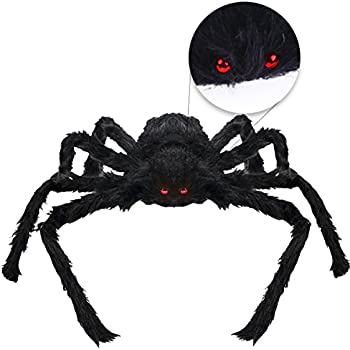 VERKB Halloween Creepy Giant Spider Decor, 75cm Scary Large Realistic Hairy Spider for Indoor, Outdoor, Window, Roof, Tree, Yard, Costume Party Decoration(Black)