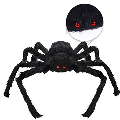 VERKB Halloween Creepy Giant Spider Decor, 75cm Scary Large Realistic Hairy Spider for Indoor, Outdoor, Window, Roof, Tree, Yard, Costume Party Decoration(Black) (Cheap Halloween Yard Props)