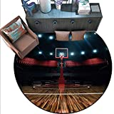 """Teen Room Decor Circle Rugs Professional Basketball Arena Stadium Before Game Championship Sports Image Living Dining Room Bedroom Hallway Office Carpet (6'6"""" Diameter) Multicolor"""