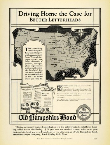 1925 Ad Hampshire Paper Co Logo Bond Letterheads US Map Vintage South Hadley MA - Original Print Ad
