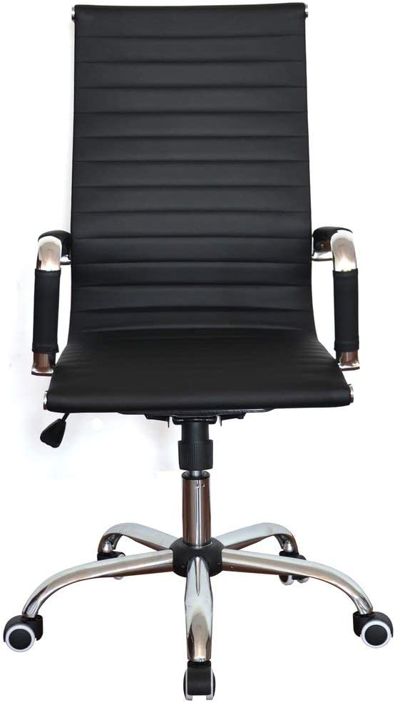 Classic Replica High Back Ribbed Office Chair - Leather, Swivel and Tilt, Adjustable Manager Executive Chair for Management, boss,Office, Conference, boardroom,Work, Task,Computer, Manager - Black: Kitchen & Dining