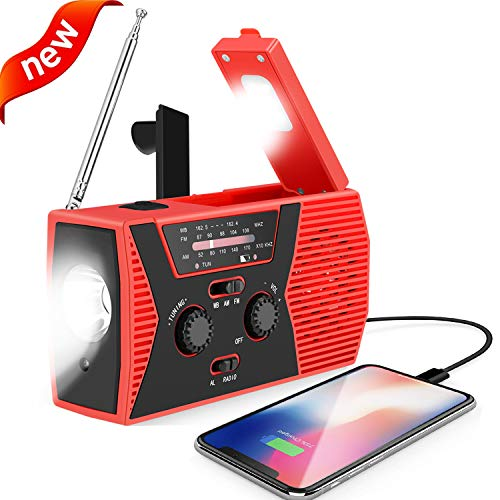 Emergency Solar Hand Crank Portable Radio,AM/FM NOAA Weather Radio for Household and Outdoor Survival with LED Flashlight, 2000mAh Power Bank USB Charger, Reading Lamp,SOS Alarm(Red)
