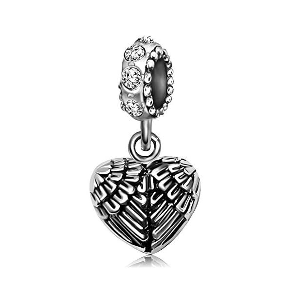 JMQJewelry Angel Wings Heart Birthstone Shape Feathers Guardian Pendant Dangel Charms For Bracelets