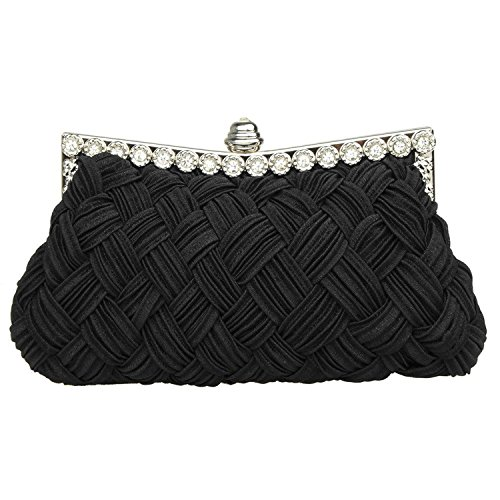 Garden Promo Bridal Bridesmaid Wallet Womens Handbag Wedding Evening Braided Rhinestone Purse Clutch - Braided Womens Handbag