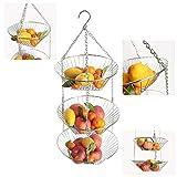 3 Tier Wire Hanging Baskets, Chrome, Removable Vegetable or Fruit Kitchen Storage Hanging Basket, Silver