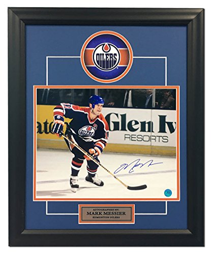 Mark Messier Autographed Oilers - Mark Messier Edmonton Oilers Autographed Hockey Rush 19x23 Frame