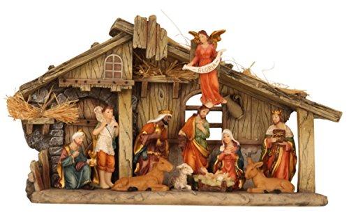 Krippenset Weihnachten Weihnachten Advent Krippe Weihnachskrippe mit Figuren Dekoration   32 x 19 x 8 cm (BxHxT)