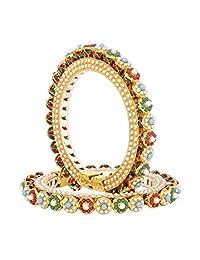 SANARA Indian Bollywood Jaipuri Handmade Gold Tone Bangle Bracelet Set Wedding Partywear Jewelry