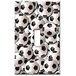Single Gang Toggle Wall Plate - Sports: Soccer Balls