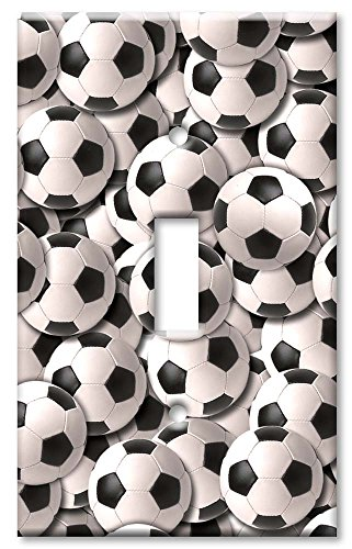 Single Gang Toggle Wall Plate - Sports: Soccer Balls