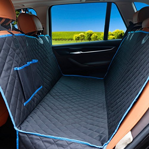 CrazyLynX Dog Seat Cover for Car Waterproof Pet Car Seat Covers with Hammock, Non-Slip Backing with Seat Anchors, 54″ x 58″, for Cars/Trucks/SUVs (Black and Blue Edge) Review