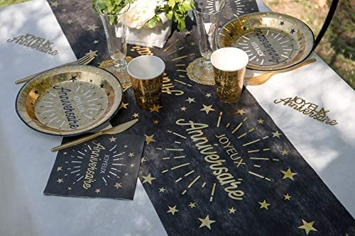 R//6646-1 Chemin de Table Joyeux Anniversaire Noir et Or m/étallique 5m