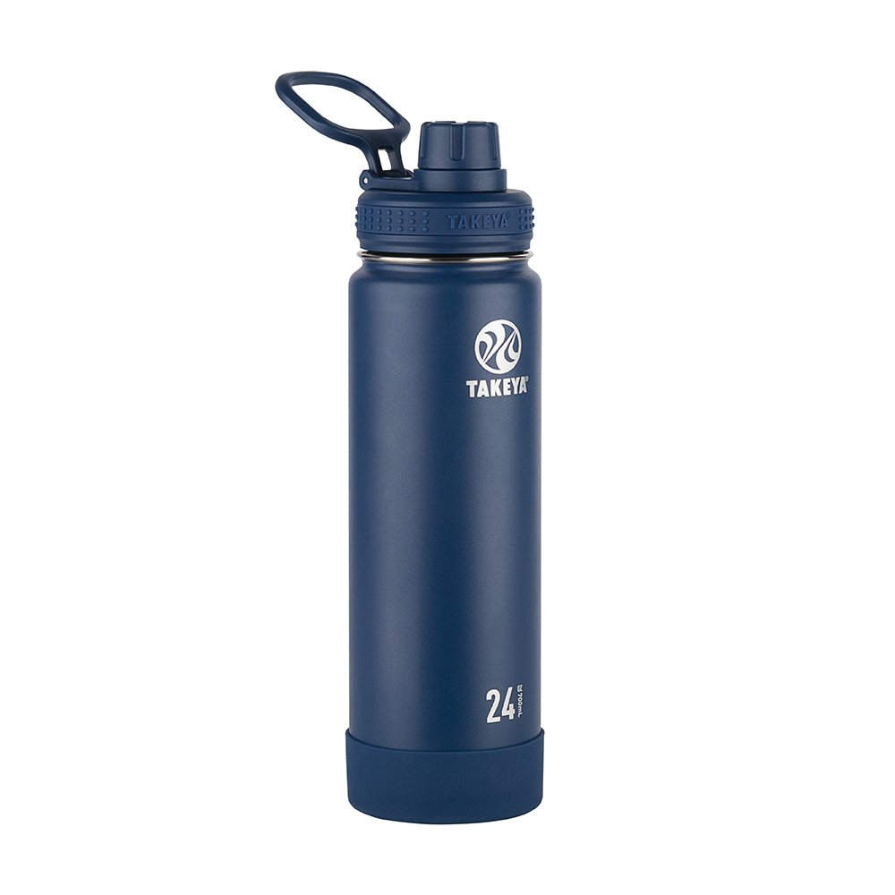 Takeya Actives Insulated Stainless Water Bottle with Insulated Spout Lid, 24oz, Midnight
