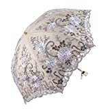 Honeystore Vintage Lace UV Sun Parasol Folding 3D Flower Embroidery Umbrella 2 Folding Grey