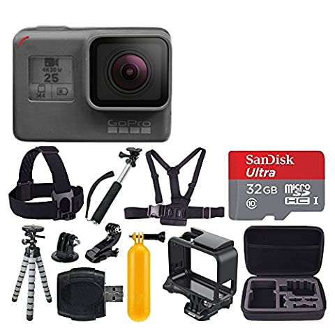 GoPro HERO5 Black + SanDisk Ultra 32GB Micro SDHC Memory Card + Hard Case + Chest Strap Mount - Head Strap Mount + Flexible Tripod + Extendable Monopod + Floating Handle + Great Value - 32 Class Lcd
