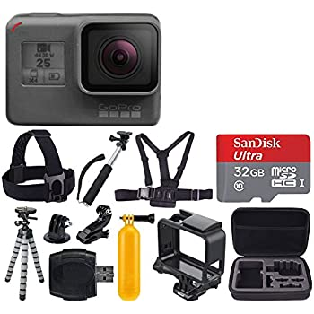 GoPro HERO5 Black + SanDisk Ultra 32GB Micro SDHC Memory Card + Hard Case + Chest Strap Mount - Head Strap Mount + Flexible Tripod + Extendable Monopod + Floating Handle - Great Value Bundle