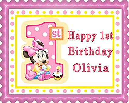 BABY MINNIE MOUSE 1st Birthday B Edible Cake Topper