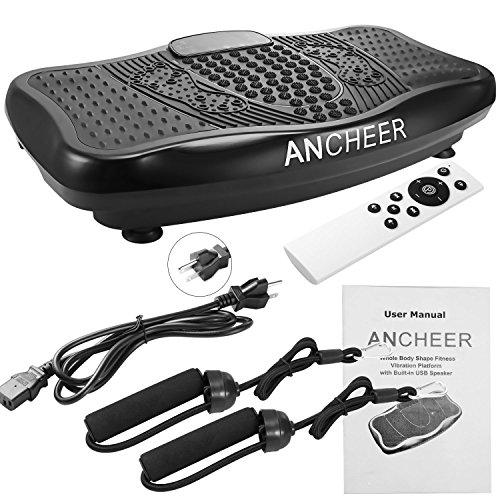 Ancheer Built in USB Speaker Fitness Whole Body Shaped Vibration Platform Machine with Resistance Bands and Remote Control Included