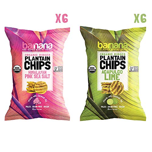 Barnana Organic Plantain Chips - Variety Pack - 1.5 Ounce, 12 Pack Plantains - Barnana Salty, Crunchy, Thick Sliced Snack - Best Chip For Your Everyday Life - Cooked in Premium Coconut Oil