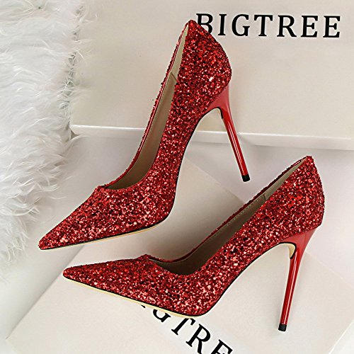 Wedding Shoes Red Fine Women'S Banquet Yukun With Bridal Pointed Shoes Shoes Shallow Women'S High Crystal Sequined alti Tacchi Heel Mouth Shoes Silver AqFWw4fT7q