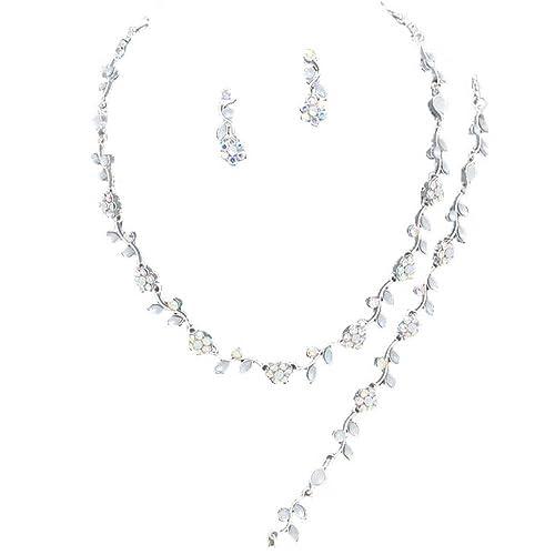 8081facc66 Amazon.com: Affordable Iridescent Color Crystal Bridesmaid 3 Bridal ...