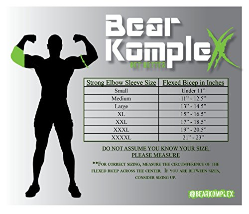 Bear KompleX Elbow Sleeves (SOLD AS A PAIR of 2) for weightlifting, powerlifting, wrestling, strongman, bench press, cross fitness, and more. Compression sleeves come in 5mm thickness Elbow BLK XXL by Bear KompleX (Image #2)