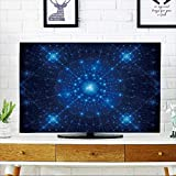 PRUNUS Cord Cover for Wall Mounted tv Blue Winter Fractal Background,Computer generated Abstract Artwork Cover Mounted tv W36 x H60 INCH/TV 65''