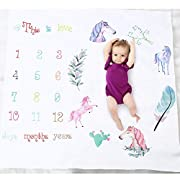 Baby Monthly Milestone Blanket, Oenbopo Newborn Infant Photo Prop Shoots Backdrop Kids Swaddling Wrap Baby Shower Gift with Month Numbers for Photography Background (Pony)